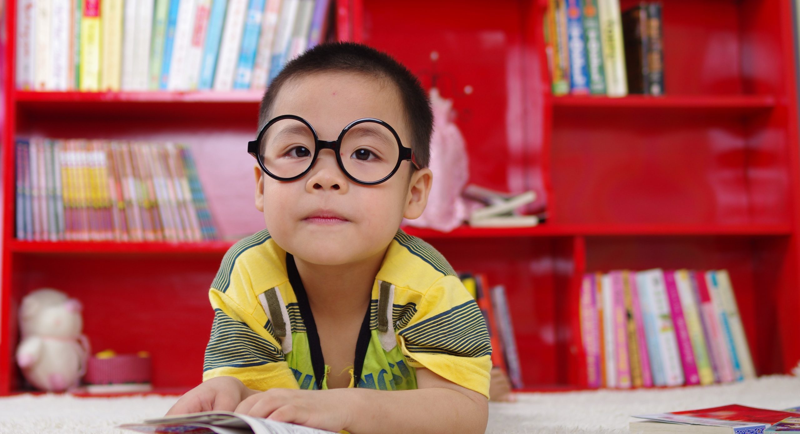 Young Boy with glasses reading